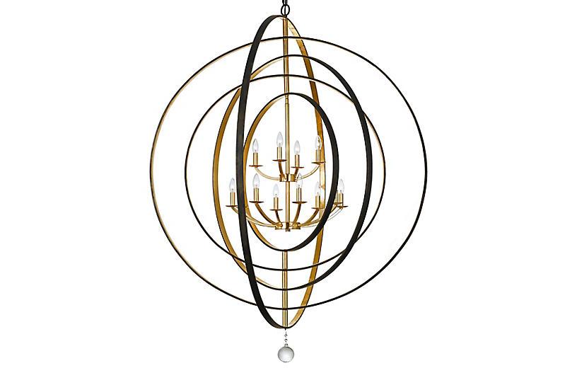 Luna 12-Light Chandelier, Bronze/Gold