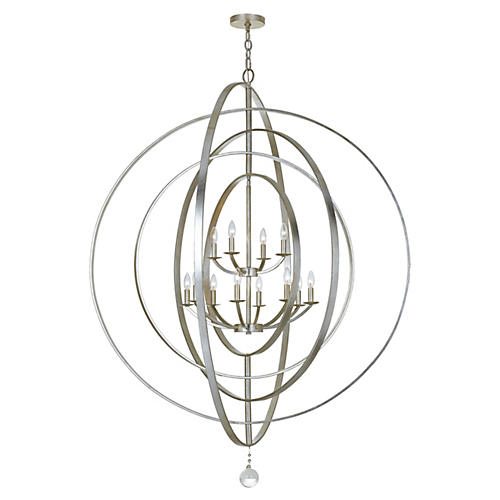 Luna 12-Light Sphere Chandelier, Silver