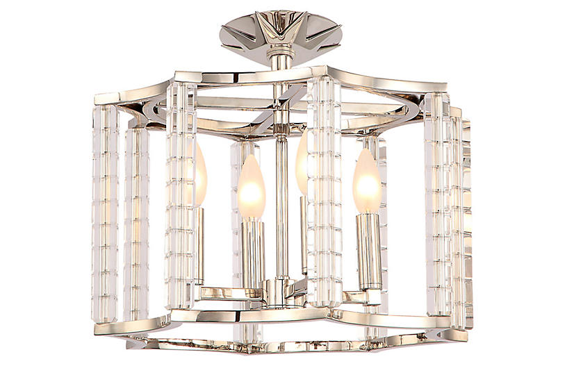 Carson 4-Light Ceiling Mount, Nickel