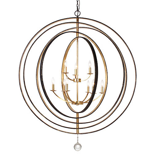 Luna 9-Light Chandelier, Bronze/Gold