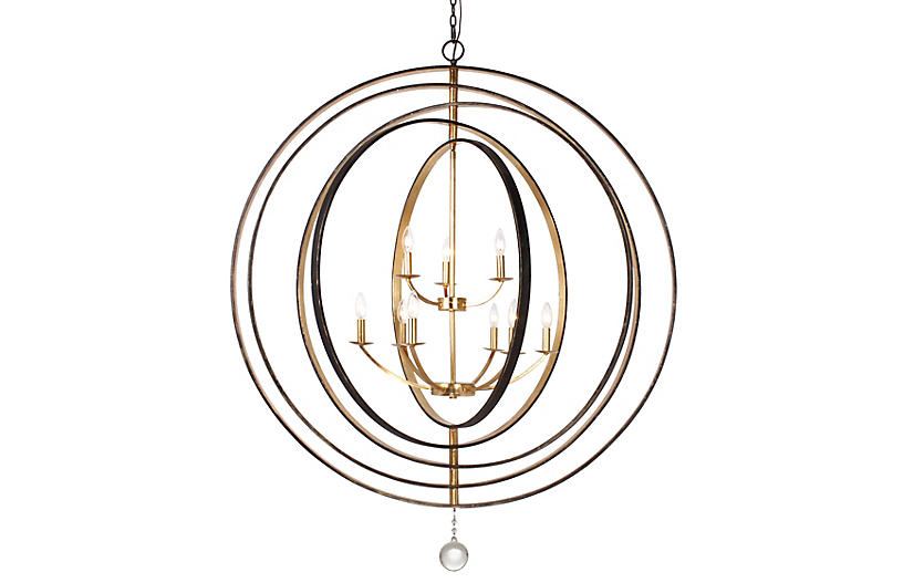 Luna 9-Light Chandelier, Bronze/Gold