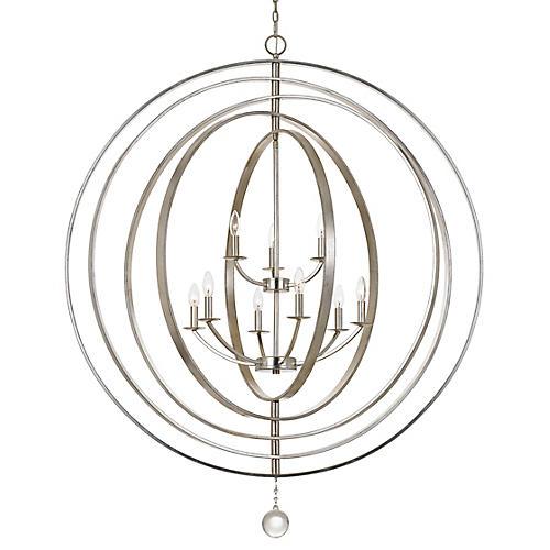 Luna 9-Light Chandelier, Antiqued Silver