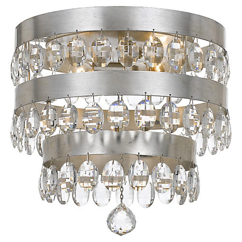 Perla 4-Light Flush Mount, Silver