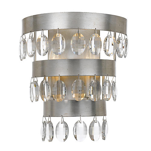 Perla 2-Light Sconce, Silver