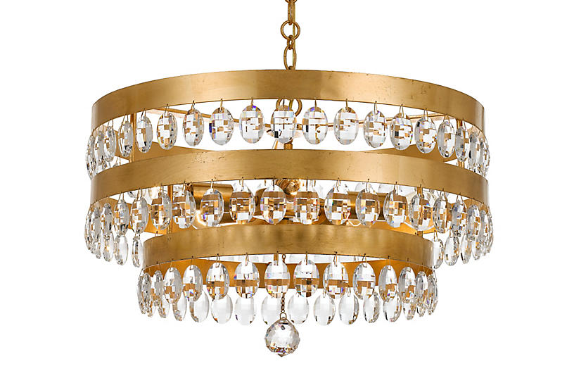 Perla 5-Light Chandelier, Antiqued Gold