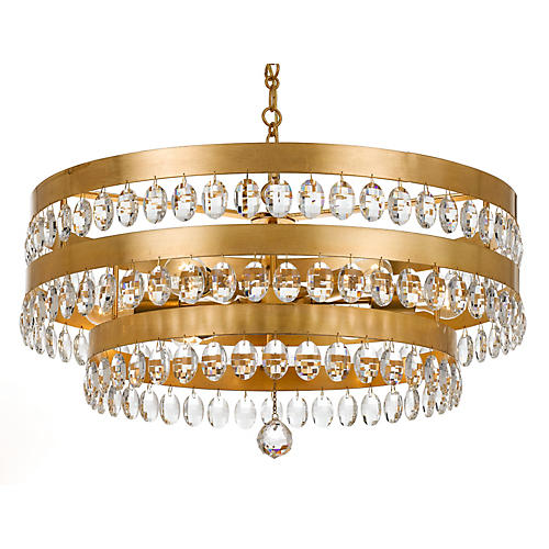 Perla 6-Light Chandelier, Antiqued Gold