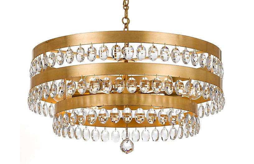 Perla 6-Light Chandelier, Antiqued Gold