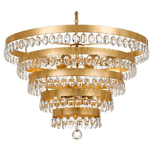 Perla 9-Light Chandelier, Antiqued Gold