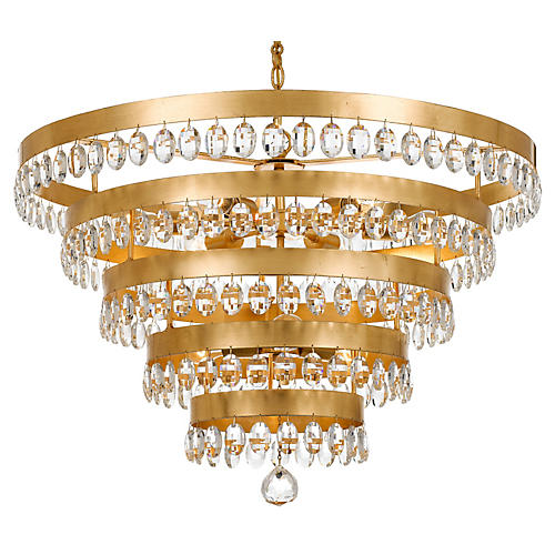 Perla 9-Light Chandelier, Antiqued Gold