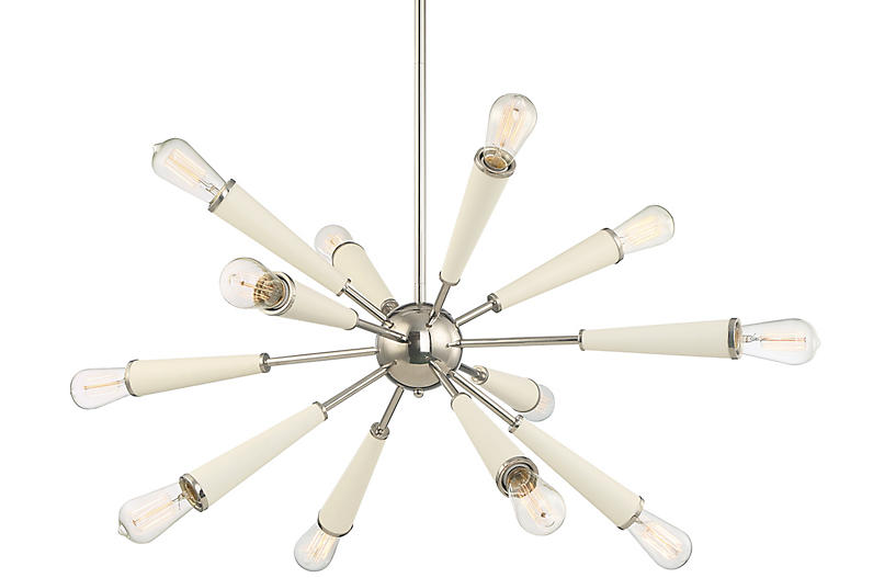 Zodiac 12-Light Chandelier, Nickel/White