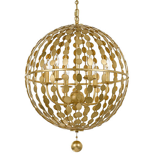 Layla 6-Light Chandelier, Antiqued Gold