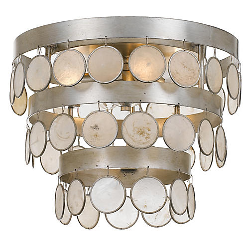 Coco 4-Light Semi-Flush Mount, Silver/White
