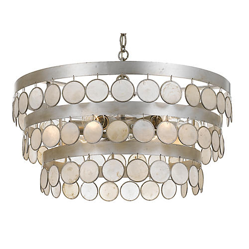 Coco 6-Light Chandelier, Silver/White