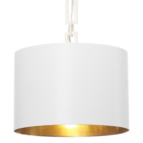 Alston Pendant, Matte White/Gold