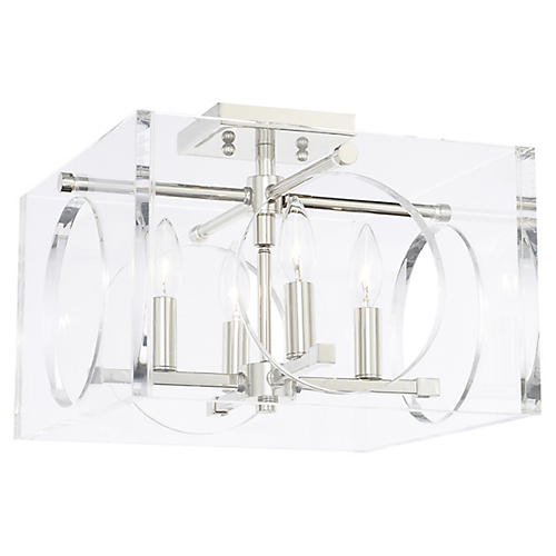 Drake 4-Light Semi-Flush Mount, Clear/Nickel
