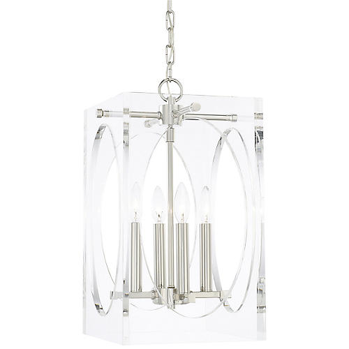 Drake Narrow Chandelier, Clear/Nickel