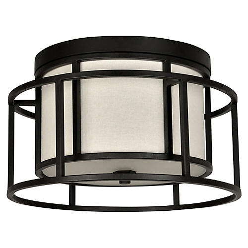 Hulton 2-Light Semi-Flush Mount, Matte Black