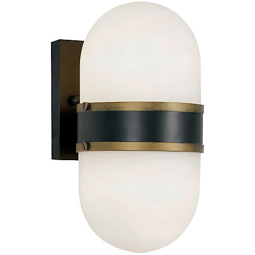 Capsule Outdoor 2-Light Sconce, Black/Gold