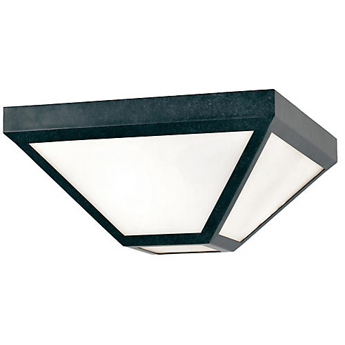 Glacier Outdoor 2-Light Flush Mount, Charcoal