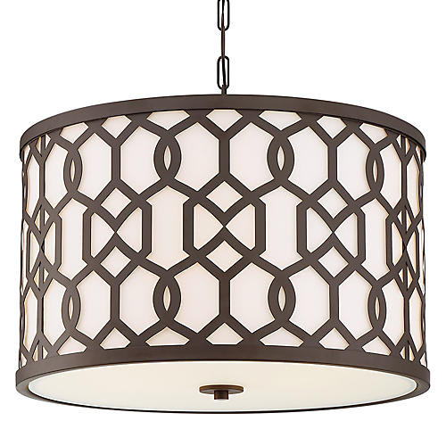 Jennings Wide Outdoor Pendant, Bronze/Frosted