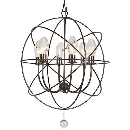Solaris Outdoor 6-Light Chandelier, Bronze
