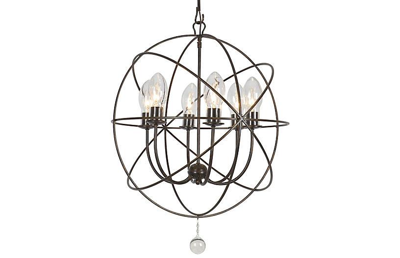 Solaris Outdoor 6-Light Chandelier, Bronze