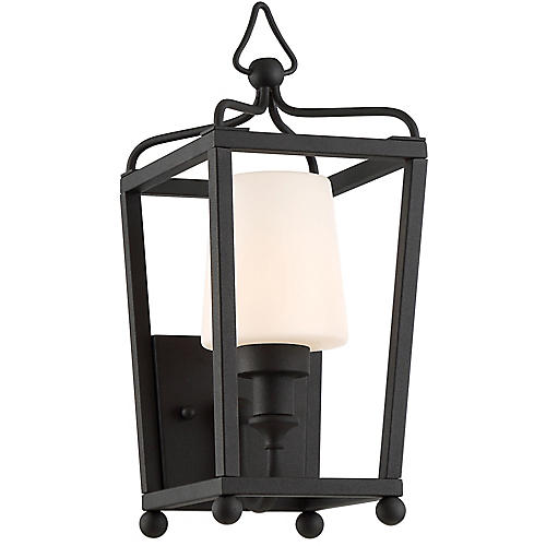 Sylvan Outdoor Sconce, Black/Frosted