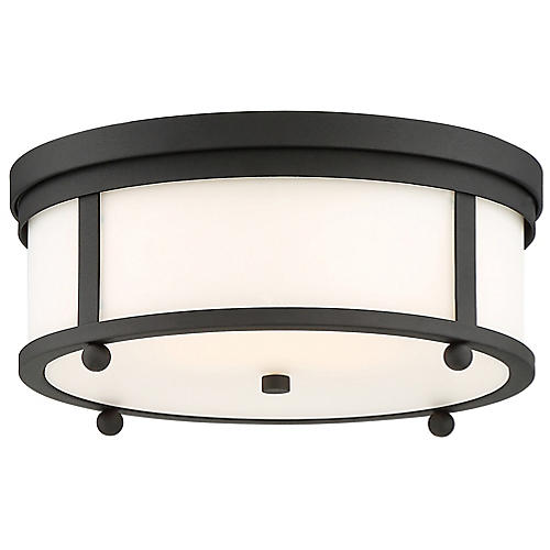 Sylvan Outdoor Flush Mount, Black/Frosted