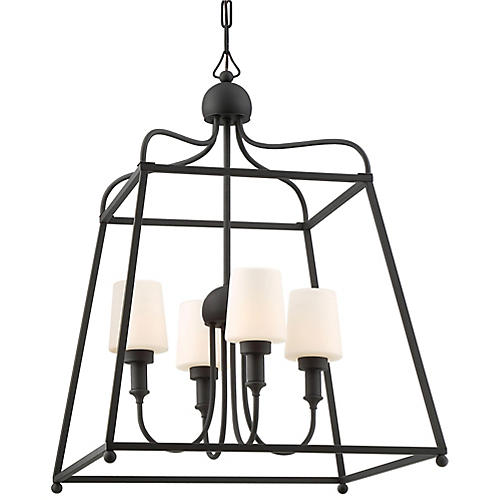 Sylvan Outdoor 4-Light Chandelier, Matte Black