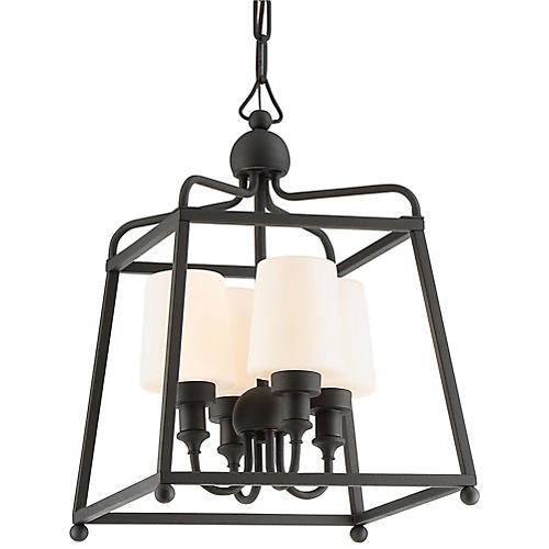 Sylvan Outdoor 4-Light Chandelier, Black