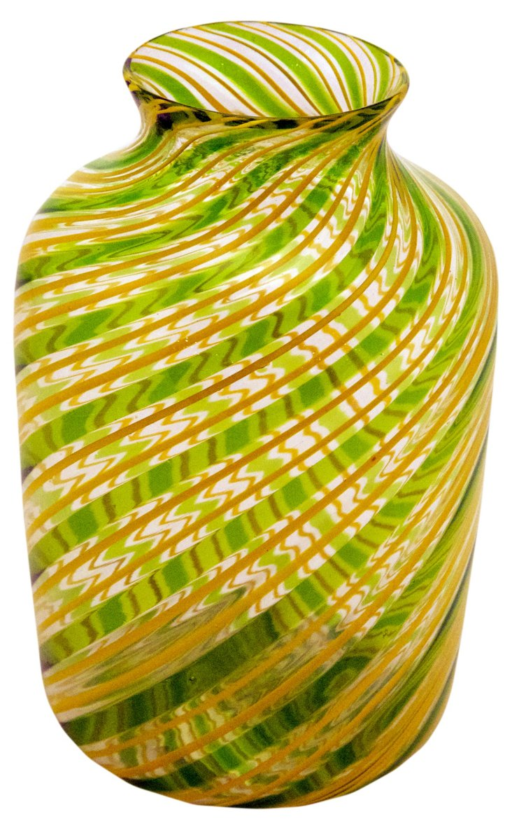 Glass Filigree Vase, Green/Gold