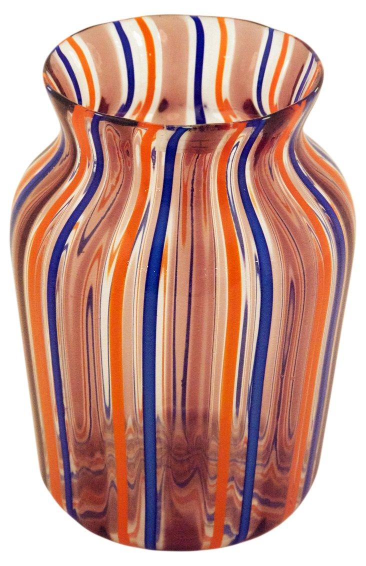 Glass Filigree Vase, Orange/Blue