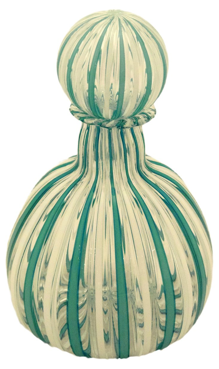 Glass Filigree Bottle, Green/White