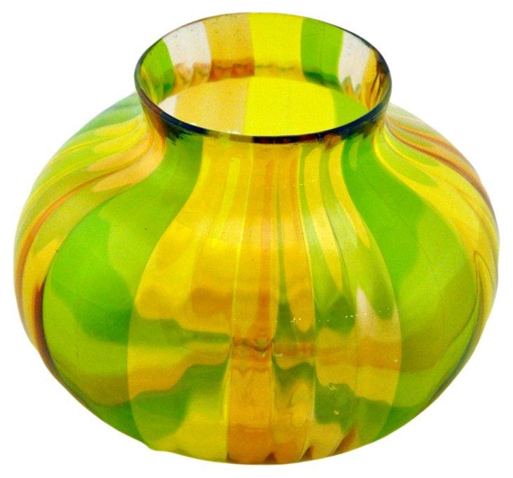 Large Glass Filigree Vase, Yellow/Green