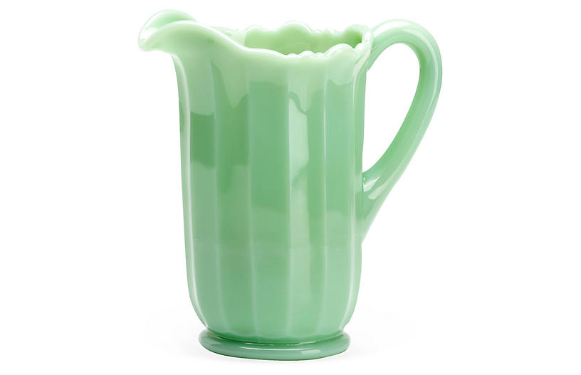 Flint Glass Panel Pitcher, Jadeite