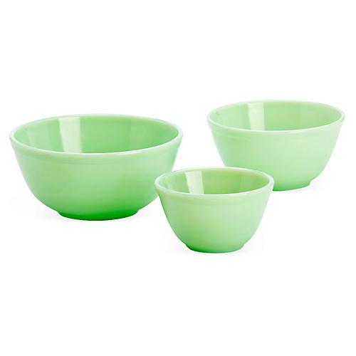 Asst. of 3 Mixing Bowls, Jadeite