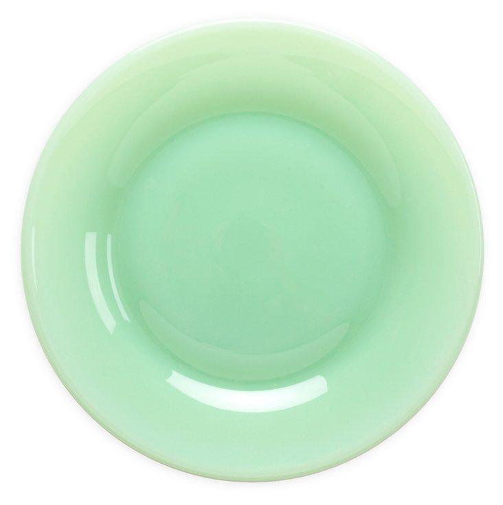 S/4 Flint Glass Dinner Plates, Jadeite