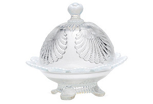 Covered Shell-Motif Butter Dish