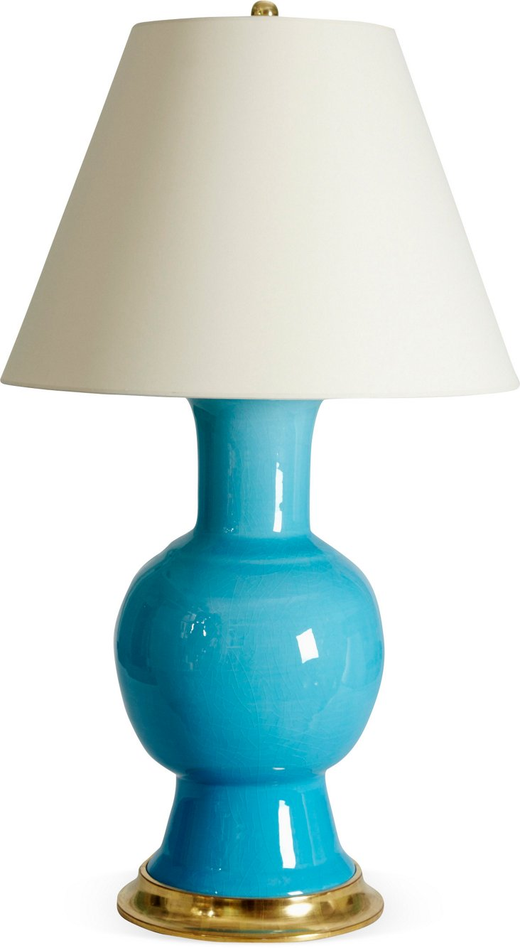 Water Blue Crackle Romano Lamp