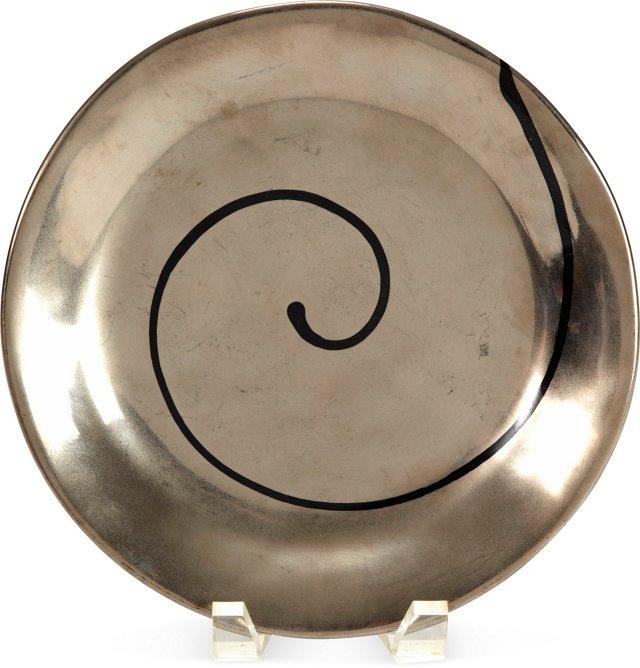 Lynn Evans Luster Plate w/ Black Swirl