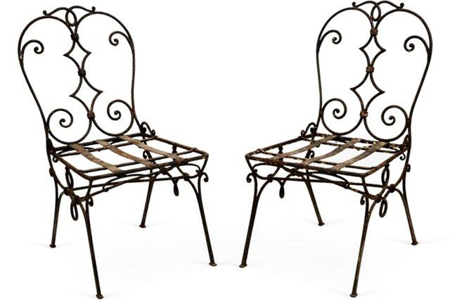 Wrought Iron Garden Chairs, Pair