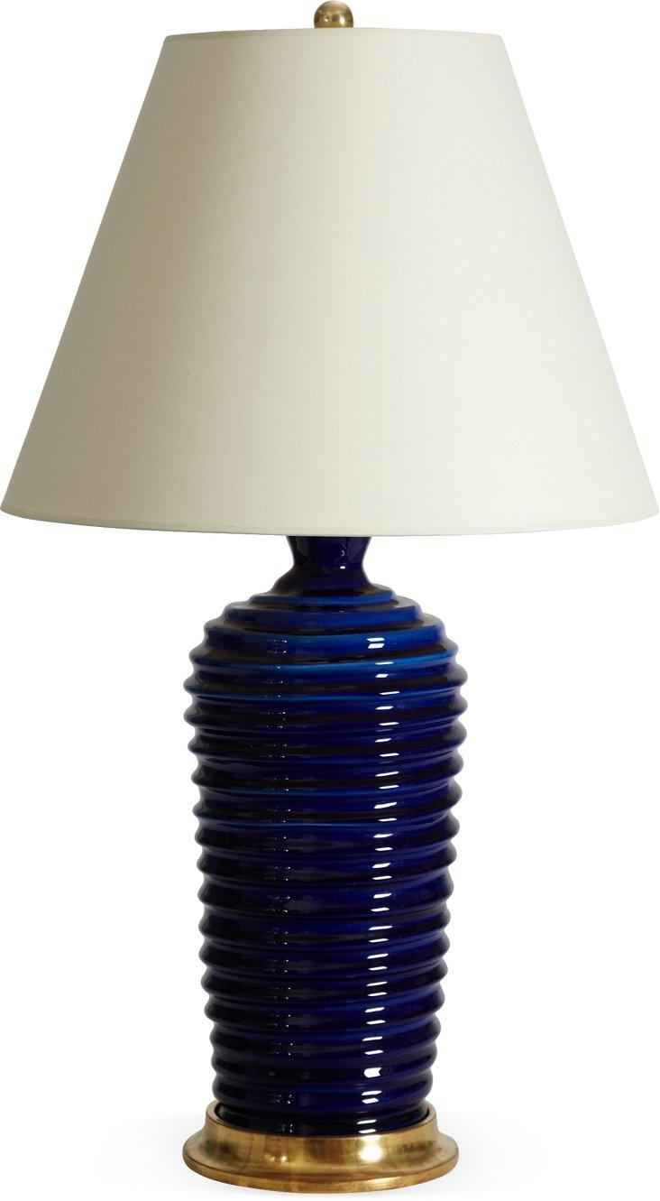 Spiral Lamp, Sapphire Crackle