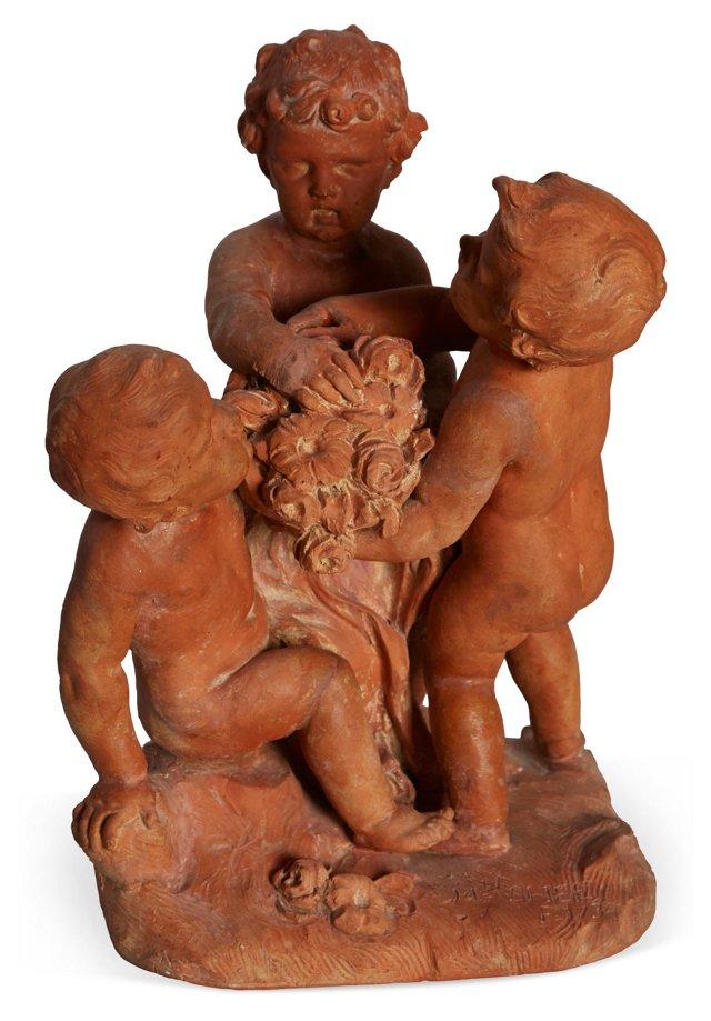Antique Clay Cherubs