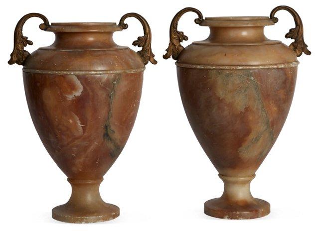 Marble Vases, Set of 2