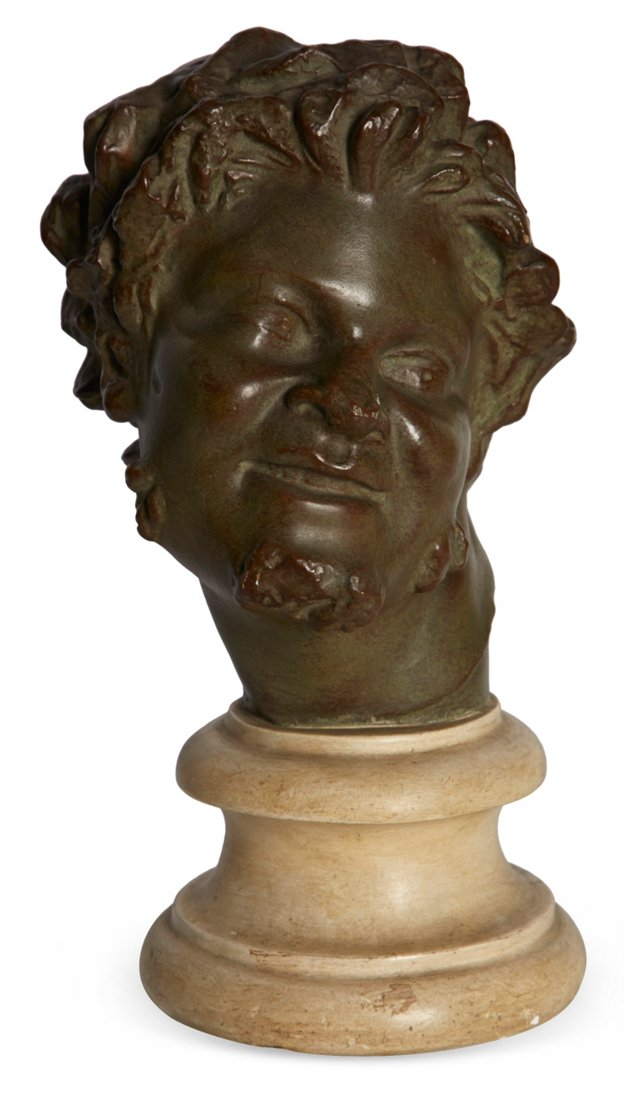 Antique Plaster Bacchus Head