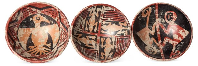 Pre-Columbian Style Bowls, Set of 3
