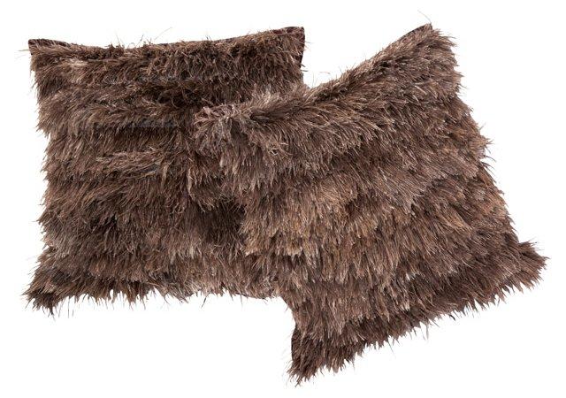 Ostrich Feather Pillows, Pair