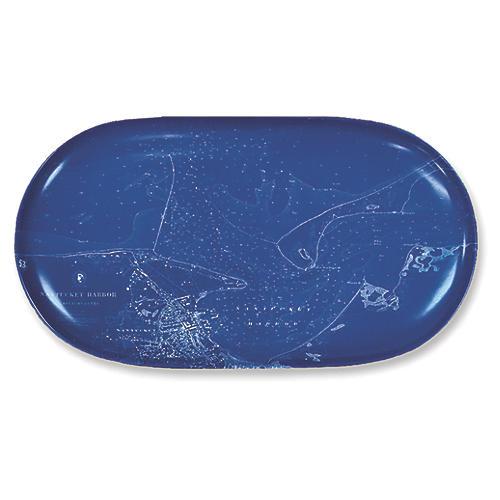 """Chart Nantucket Blue Oval Platter, 12"""""""