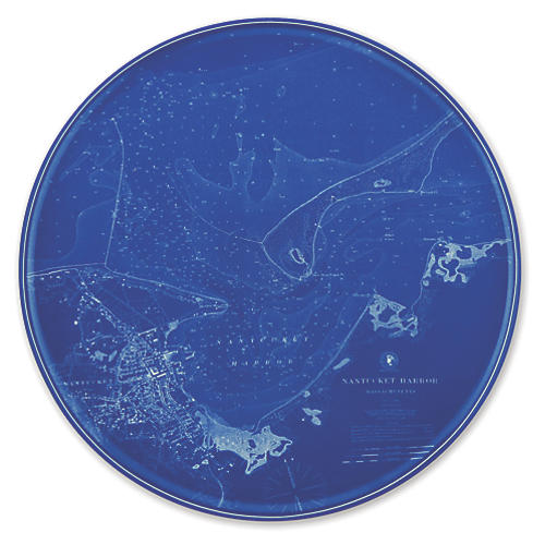 Chart Nantucket Blue Platter, 12.5""