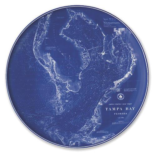 "Chart Tampa Blue Platter, 12.5"""